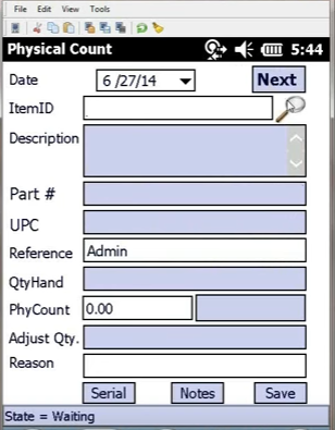 physical inventory count on handheld with bar code scanner