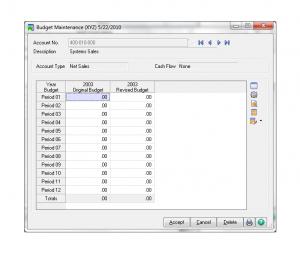 Sage 100 Account Maintenance Budget Button