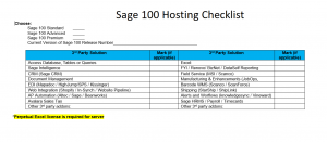 Sage 100 hosting checklist - Find Sage 100 hosting providers for Sage 100 hosting. All versions are available for hosting for sage 100 and once we understand how you want to host Accounting Business Solutions by JCS can provide sage 100 hosting price. There are add-ons that can affect the price for sage 100 hosting and the annual sage 100 hosting cost. Discover the cost for sage 100 hosting called sage hosting and learn how is sage 100 cloud based